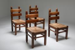 Rustic Modern Oak and Cord Chairs 1930s - 1421016