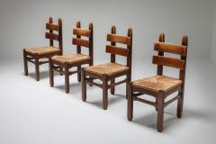Rustic Modern Oak and Cord Chairs 1930s - 1421017