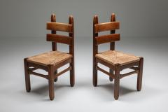 Rustic Modern Oak and Cord Chairs 1930s - 1421018