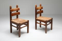 Rustic Modern Oak and Cord Chairs 1930s - 1421020