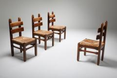 Rustic Modern Oak and Cord Chairs 1930s - 1421026
