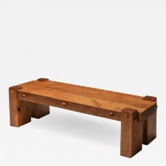 Rustic Modern Rectangular Coffee Table in Solid Oak 1960s - 1422228