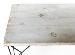 Rustic Whitewashed Console Work Table with Iron Legs - 1240373