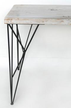 Rustic Whitewashed Console Work Table with Iron Legs - 1240374