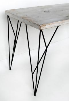 Rustic Whitewashed Console Work Table with Iron Legs - 1240376