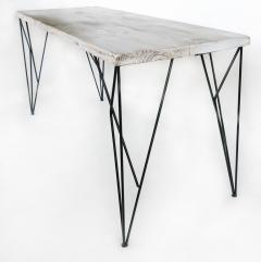 Rustic Whitewashed Console Work Table with Iron Legs - 1240377