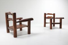 Rustic Wooden Wabi Sabi Lounge Chairs 1950s - 1248828
