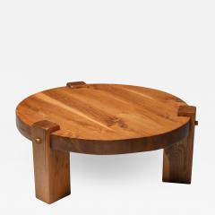 Rustic modern coffee table in solid oak 1960s - 1322432