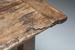 Rustic modern refactory oak dining table 1800s - 1480878