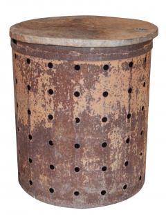Rusty Metal Drum Table - 1017490