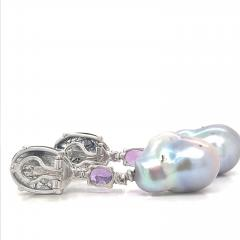 Rutilated Quartz With Diamond Amethystes and Baroque South Sea Pearl Earrings - 1202320