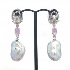 Rutilated Quartz With Diamond Amethystes and Baroque South Sea Pearl Earrings - 1202322