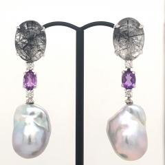 Rutilated Quartz With Diamond Amethystes and Baroque South Sea Pearl Earrings - 1202323