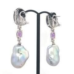 Rutilated Quartz With Diamond Amethystes and Baroque South Sea Pearl Earrings - 1202324
