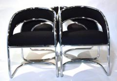 S 4 Mid Century Modern Upholstered Chrome Sling Back Chairs - 613268