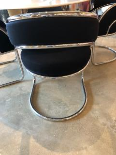 S 4 Mid Century Modern Upholstered Chrome Sling Back Chairs - 613273