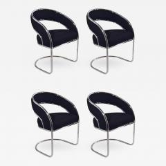 S 4 Mid Century Modern Upholstered Chrome Sling Back Chairs - 615333