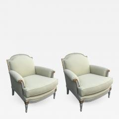 S 70 pair of elegant white painted and giltwood Louis XVI style armchairs - 745048