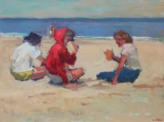 S C Yuan Three Figures on the Beach - 1499084