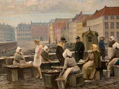 S ren Christian Bjulf 1920s S C Bjulf Fish Market at Gammel Strand Copenhagen - 1350559