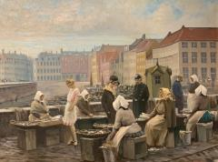 S ren Christian Bjulf 1920s S C Bjulf Fish Market at Gammel Strand Copenhagen - 1350915