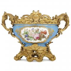 S vres style porcelain and gilt bronze centrepiece bowl - 1641548