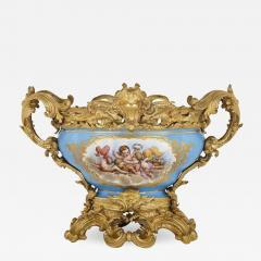 S vres style porcelain and gilt bronze centrepiece bowl - 1645429