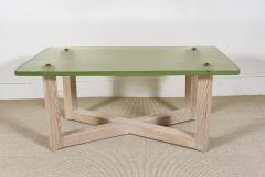 SAINT GOBAIN GLASS AND CERUSED OAK LOW TABLE - 1845401