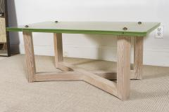 SAINT GOBAIN GLASS AND CERUSED OAK LOW TABLE - 1845403