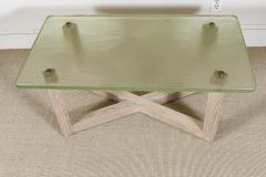 SAINT GOBAIN GLASS AND CERUSED OAK LOW TABLE - 1845404