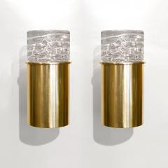 SCANDINAVIAN BRASS SCONCES WITH SOLID CRYSTAL SHADES - 1029239