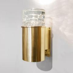 SCANDINAVIAN BRASS SCONCES WITH SOLID CRYSTAL SHADES - 1029240