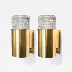 SCANDINAVIAN BRASS SCONCES WITH SOLID CRYSTAL SHADES - 1029855