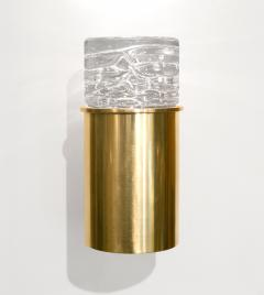 SCANDINAVIAN BRASS SCONCES WITH SOLID CRYSTAL SHADES - 1193099