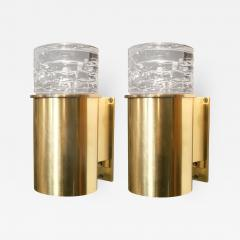 SCANDINAVIAN BRASS SCONCES WITH SOLID CRYSTAL SHADES - 1201525