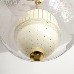 SCANDINAVIAN MODERN PENDANT WITH ETCHED GLASS AND PIERCED METAL SHADES - 1199467