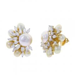 SEMI CIRCLE PEARL AND DIAMOND EARRINGS 18K YELLOW GOLD - 1923183