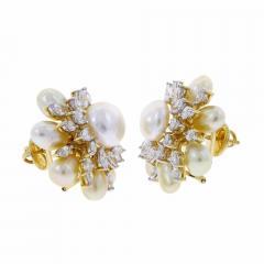 SEMI CIRCLE PEARL AND DIAMOND EARRINGS 18K YELLOW GOLD - 1923185