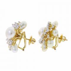 SEMI CIRCLE PEARL AND DIAMOND EARRINGS 18K YELLOW GOLD - 1923186