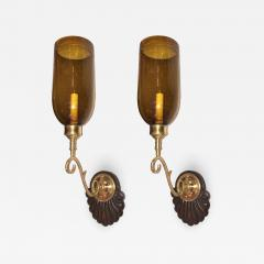 SET OF ANGLO INDIAN AMBER GLASS SCONCES - 864260