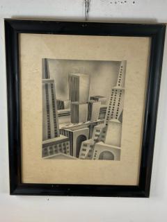 SIGNED ART DECO FUTURIST CITY BLACK AND WHITE WATERCOLOR - 1208860