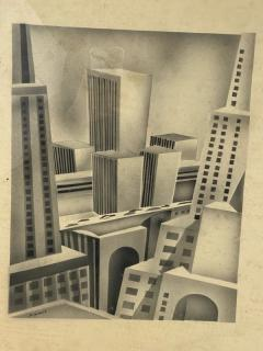 SIGNED ART DECO FUTURIST CITY BLACK AND WHITE WATERCOLOR - 1208861