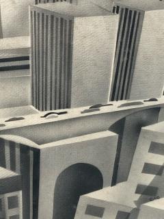 SIGNED ART DECO FUTURIST CITY BLACK AND WHITE WATERCOLOR - 1208864