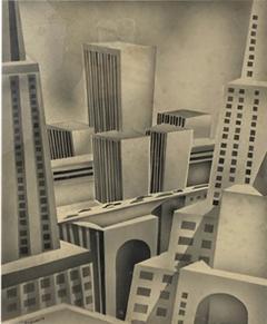 SIGNED ART DECO FUTURIST CITY BLACK AND WHITE WATERCOLOR - 1209363