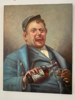SIGNED DRINKING CIVIL WAR SOLDIER WITH BOTTLE OF BOURBON PAINTING - 1791041