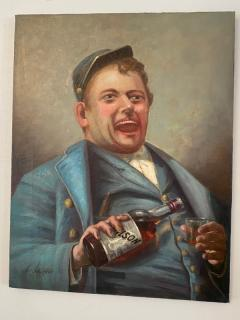 SIGNED DRINKING CIVIL WAR SOLDIER WITH BOTTLE OF BOURBON PAINTING - 1791043