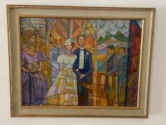 SIGNED MODERN STAINED GLASS STYLE WEDDING PAINTING - 1909739