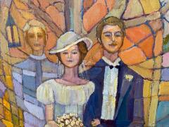 SIGNED MODERN STAINED GLASS STYLE WEDDING PAINTING - 1909741