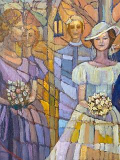 SIGNED MODERN STAINED GLASS STYLE WEDDING PAINTING - 1909745