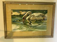 SIGNED MODERN SWANS WATERCOLOR - 1569345